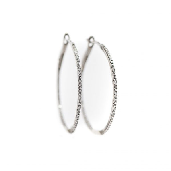 , 1.25″ diamond hoops 18k white gold