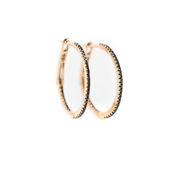 , 3/4″ black diamond hoops