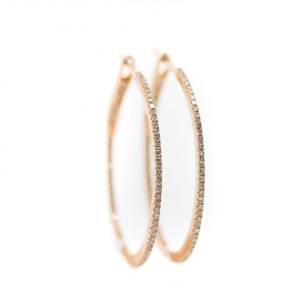 , 1″ Diamond Hoops Rose Gold