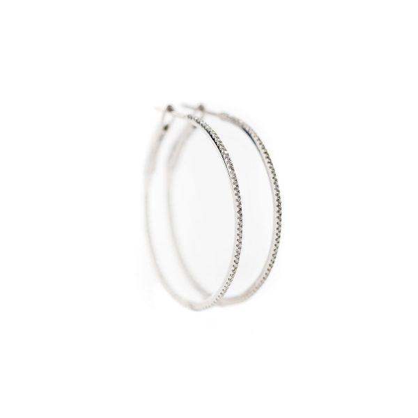 , .75″ diamond hoops 0.18ct diamond