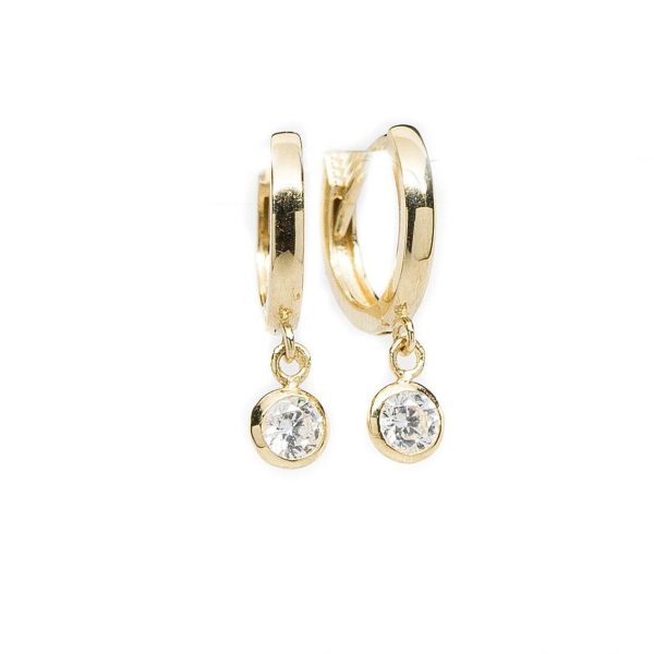 , Small Yellow Gold Hoop with Bezel Set Cubic Zirconia Dangle