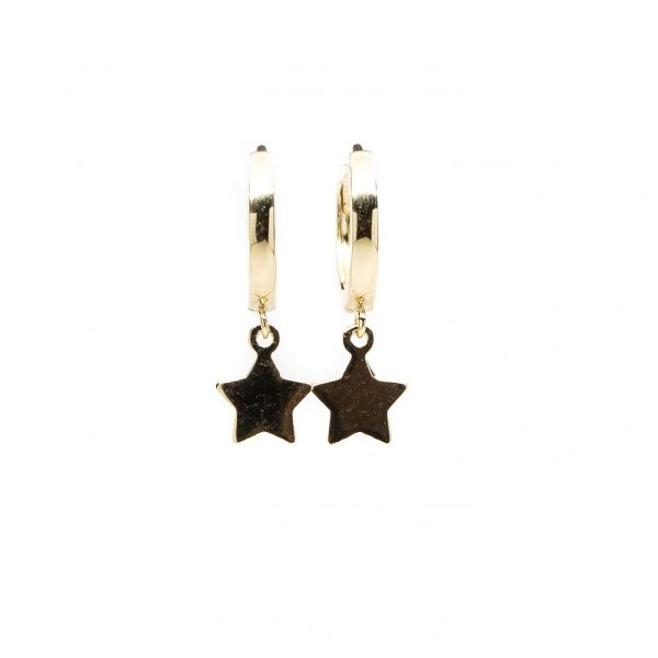 , Small Yellow Gold Hoop with Star Dangle