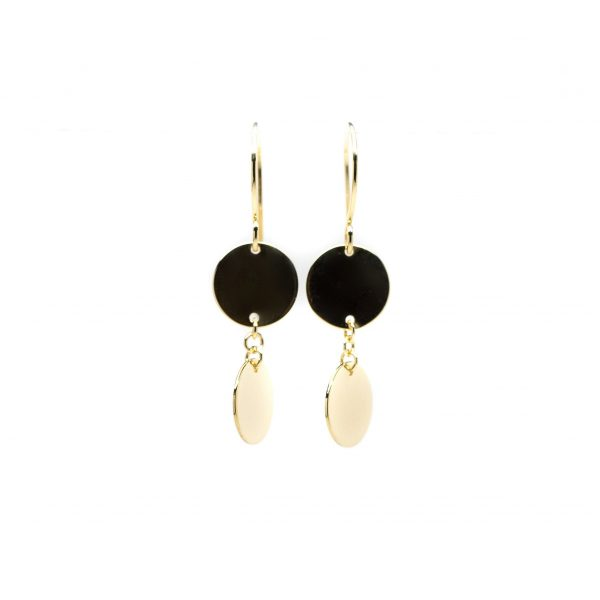 , Yellow Gold Circle Dangle Earrings – 14k Yellow Gold