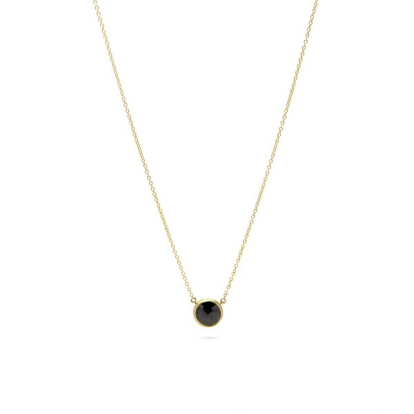 , Yellow Gold Bezel Set Black Diamond Necklace