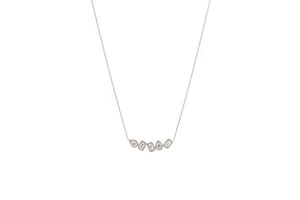 , 14kt White Gold Multi Shape Diamond Necklace