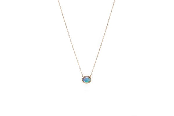 , 14kt Rose Gold Opal Necklace with Diamond Halo