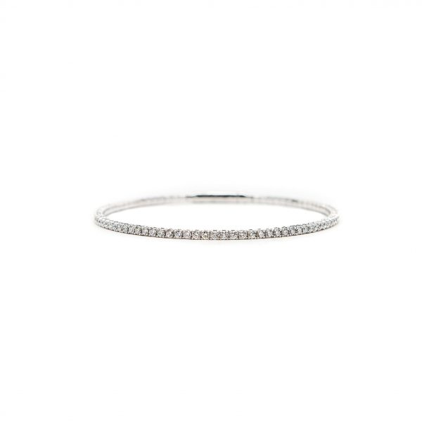, 14kt White Gold and Diamond Bangle