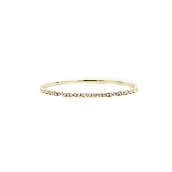 , 14kt Yellow Gold and Diamond Bangle