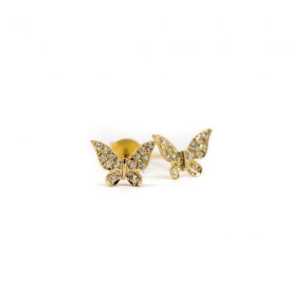 , 14kt Yellow Gold Diamond Butterfly Studs