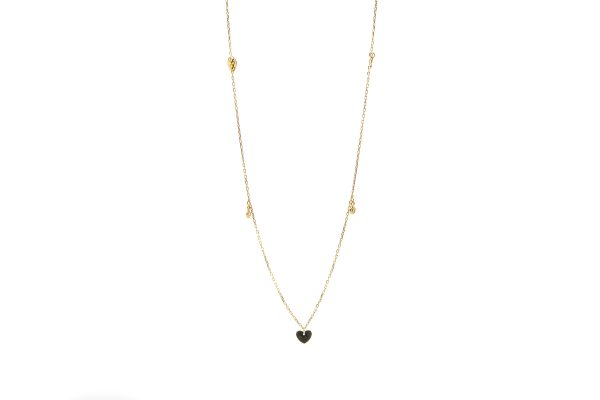 , 14kt Yellow Gold Heart and Cz Necklace