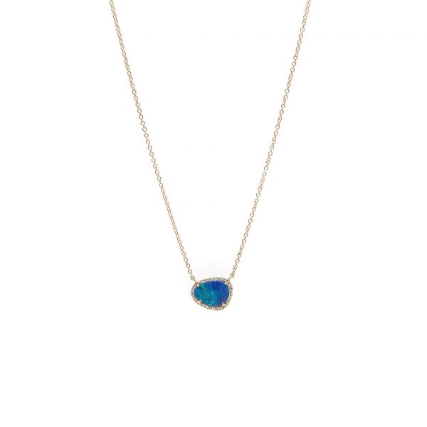 , Black Opal and Diamond Pendant Necklace