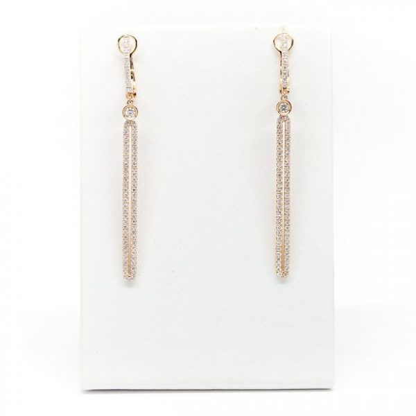 , 18kt Rose Gold Diamond Bar Dangle Earrings