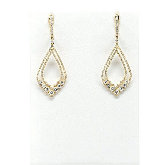 , 18kt Yellow Gold Diamond Dangle Earrings