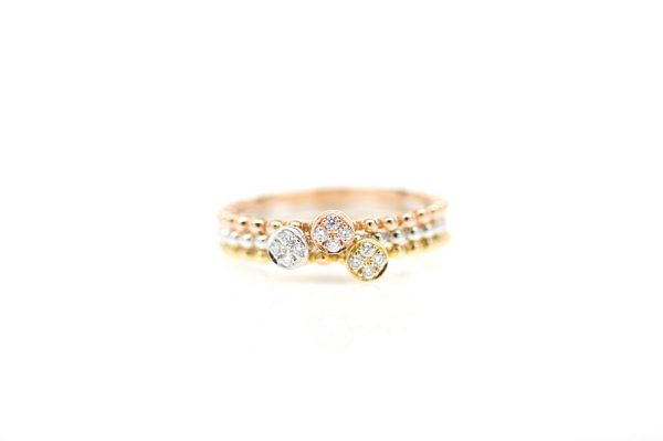 , 18kt White Gold and Pave Diamond Stackable Ring