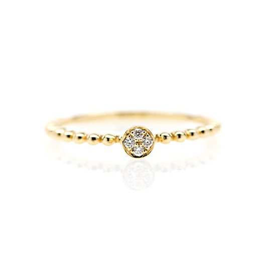 , 18kt Yellow Gold and Pave Diamond Stackable Ring