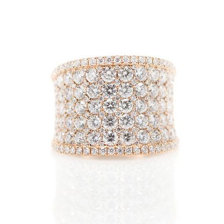 , 18kt Rose Gold Diamond Wide Band
