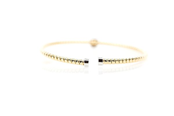 , 18k Two Tone Diamond Bangle