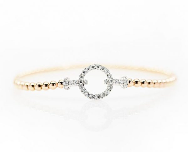 , 18kt Two Tone Diamond Bangle