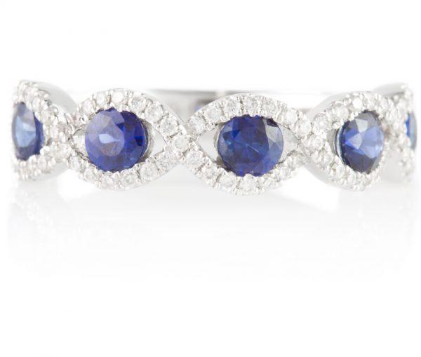 , Diamond & Sapphire Band 14 White Gold