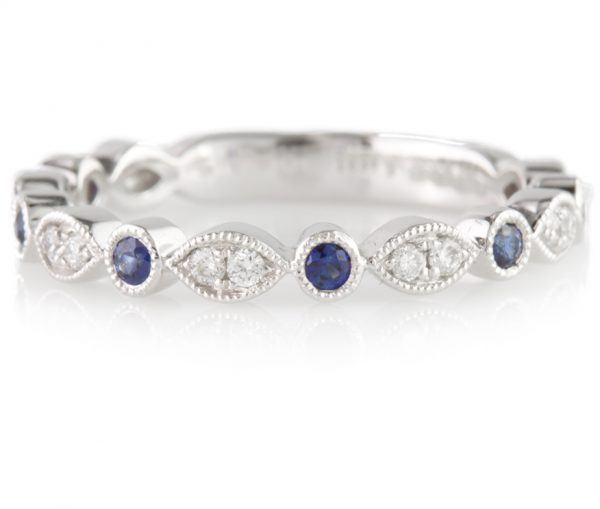 , Sapphire and Diamond Band in 14K White Gold