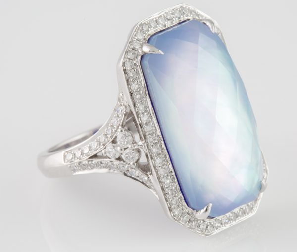 Diamond Ring, 10.71 Carat Topaz and Lapis Diamond Ring in 14 Karat
