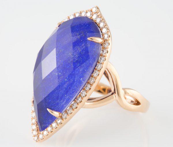 White Topaz Ring, White Topaz and Lapis Diamond Ring 14K