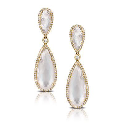 , White Orchid Mother of Pearl Earrings 18K White Gold
