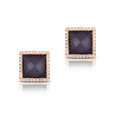 , Imperial Studs with Diamond Halos in 18K Rose Gold
