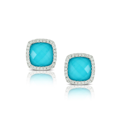 , St. Barths Blue Stud Earrings in 18K White Gold