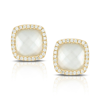 , White Orchid Stud Earrings in 18K Yellow Gold