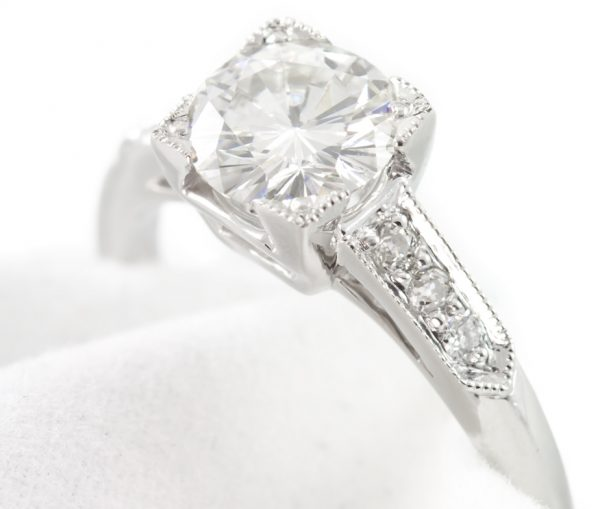 , 1.10CTTW Diamond and Platinum Engagement Ring