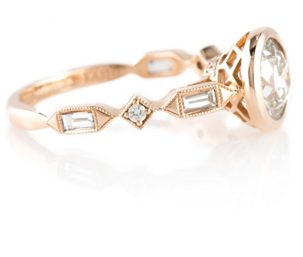 , 1.21 European Cut Diamond in Rose Gold
