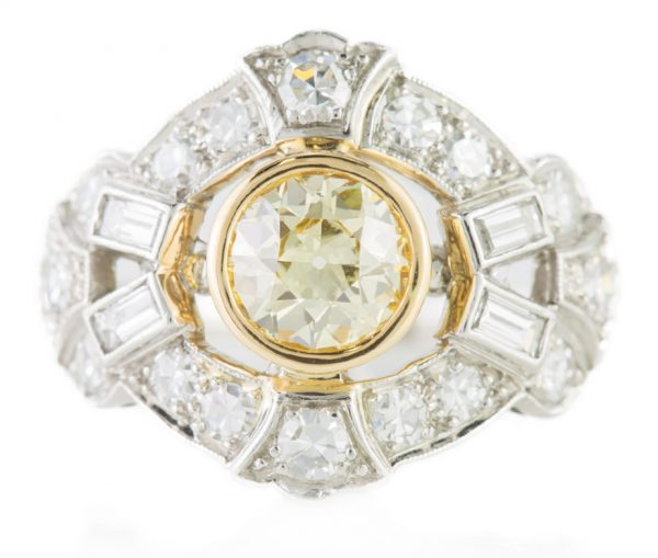 , Fancy Yellow Diamond Cocktail Ring in Platinum &18K
