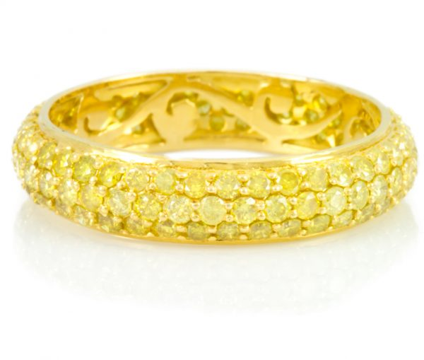 , 1.85CTTW Fancy Yellow Diamond Band in 18K Yellow Gold Vivaan Collection