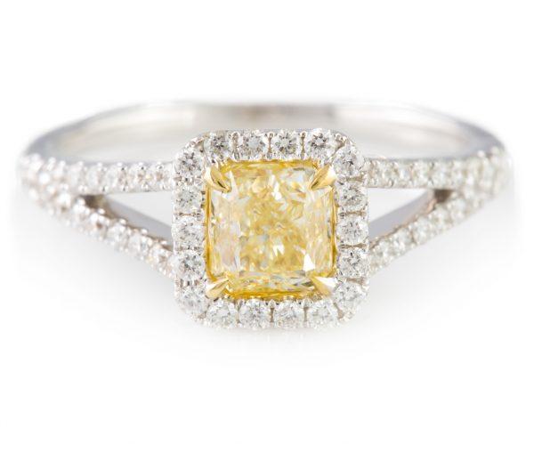 Fancy Yellow Diamond, Fancy Yellow Diamond Ring in 18K White Gold