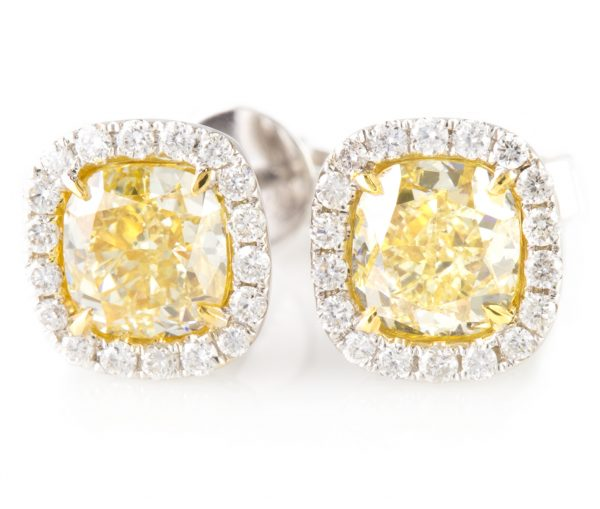 Fancy Yellow Diamond Earrings, Fancy Yellow Diamond Earrings in White Gold