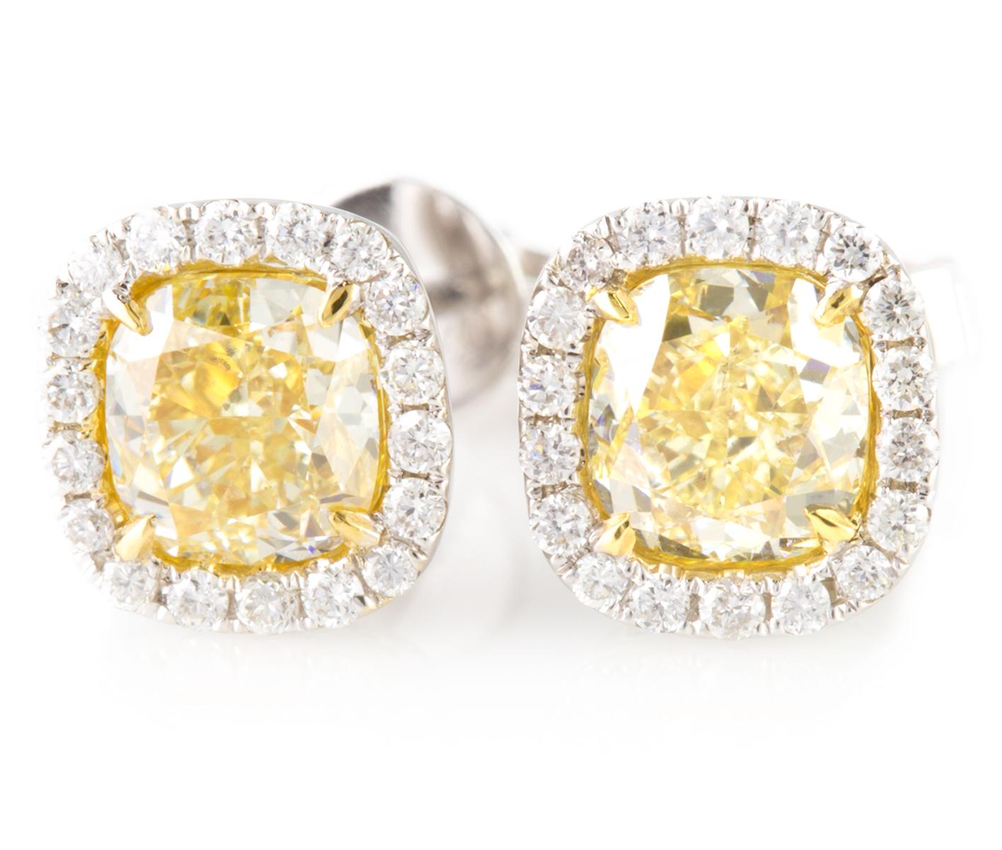 Fancy Yellow Diamond Earrings In White Gold