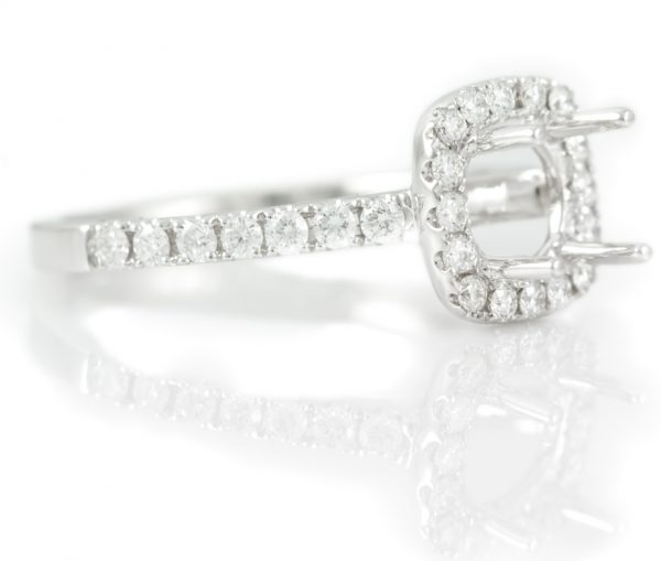 , Diamond Halo Engagement Ring 18K White Gold