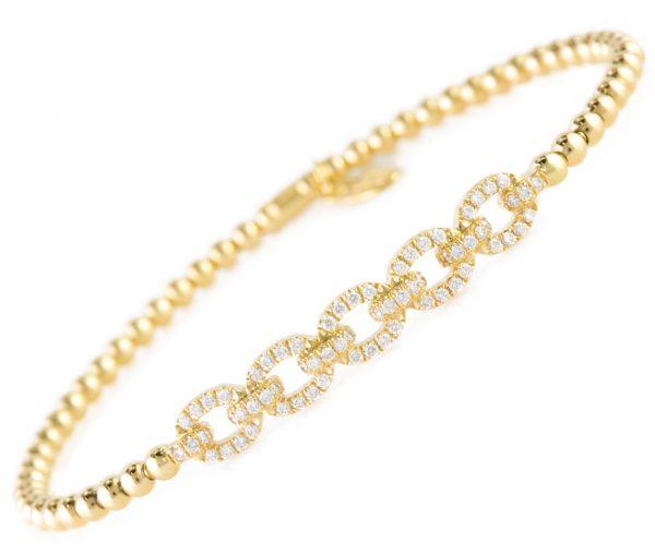 , Diamond Link Bracelet in 18K Yellow Gold