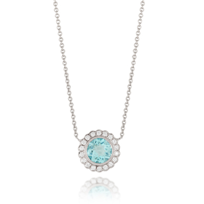 , Ocean Mist Blue Topaz and Diamond Pendant & Chain