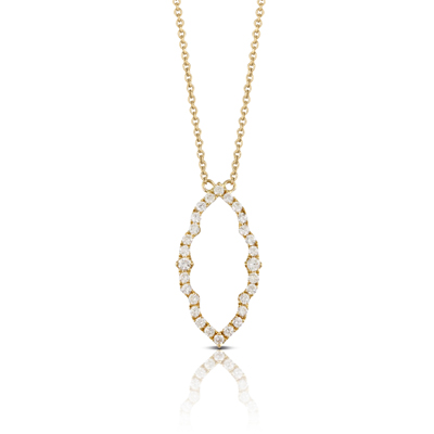 , Diamond Pendant & Chain in 18K Yellow Gold
