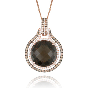 , Mocha Mosaic Diamond Pendant and Chain 18K Rose Gold