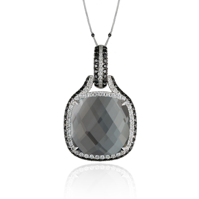 , Haute Hematite Diamond Pendant & Chain 18K White Gold