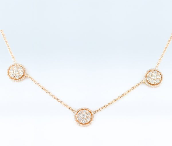 , Diamond Halo Necklace in 14K Rose Gold