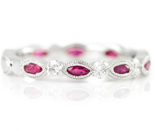 , Ruby Eternity Band with Diamonds