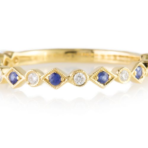 , Round Bezel Set Diamond Eternity Band with Milgrain Edges