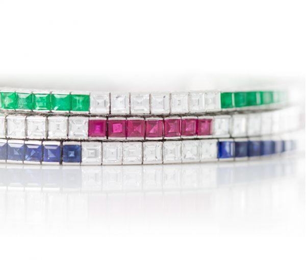 , Asscher Diamond and Emerald Tennis Bracelet