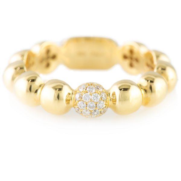 0.11 Carat Diamond Band 18 Karat Yellow Gold, 0.11 Carat Diamond Band 18 Karat Yellow Gold