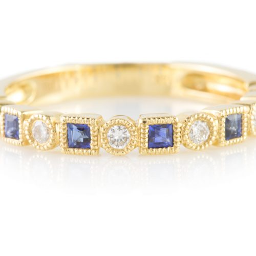 , Diamond & Sapphire Stacking Band in 14K Yellow Gold