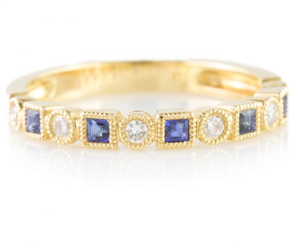 , Diamond and Sapphire Band in 14K Yellow Gold